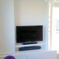 meuble TV bibliothèque panneaux ouverts